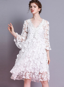 V-neck Flare Sleeve Loose See-though Dress With Cami