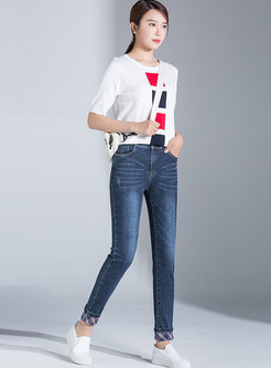 Color-blocked Plaid Denim Pencil Pants