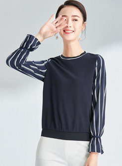 Striped Splicing O-neck Flare Sleeve T-shirt