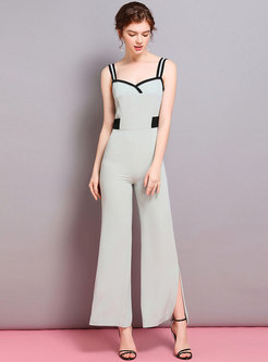 75b0dbd1159b Color-blocked Sleeveless High Waist Slit Jumpsuit
