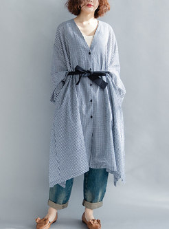 Plaid V-neck Tie-waist Asymmetric Sunscreen Coat