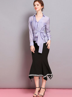 Pure Color V-neck Belted Asymmetric Slim Blouse