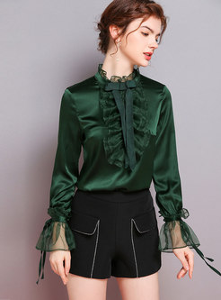 Ruffled Collar Flare Sleeve Falbala Silk Blouse