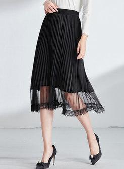 Black Elastic Waist Pleated Skirt