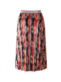 Retro Elastic Waist Gold Velvet Pleated Skirt