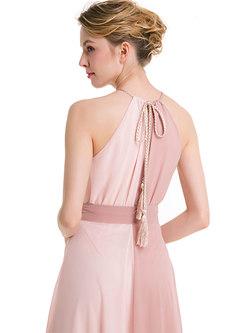 Color-blocked Sleeveless Asymmetric Maxi Dress