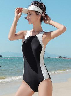 Lace Splicing O-neck One Piece Swimwear