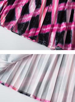Fashion High Waist Irregular Plaid Skirt