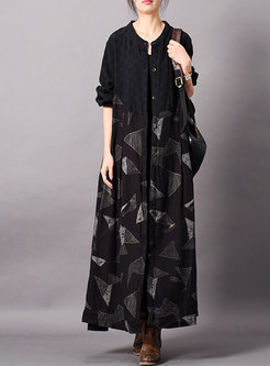 Vintage Print O-neck Long Straight Coat