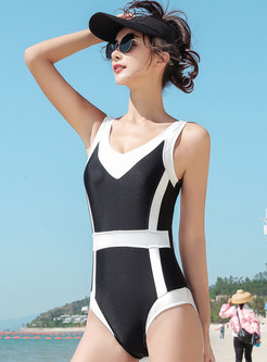 Color-blocked O-neck Backless One Piece Swimwear