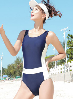 Stylish Color-blocked Slim One Piece Swimwear