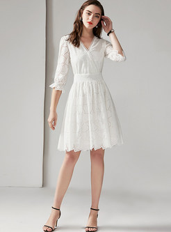 V-neck Half Sleeve Hollow Out A Line Dress