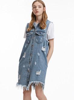Trendy Lapel Sleeveless Denim Mini Dress