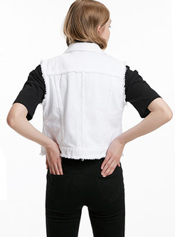 White Turn Down Collar Single-breasted Vest