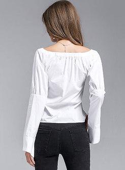 Slash Neck Flare Sleeve Single-breasted Blouse