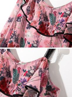 Floral Flare Sleeve Slash Neck Blouse