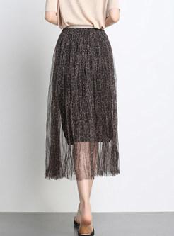 Fashion High Waist Mesh Leopard A Line Skirt