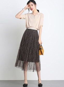 Fashion High Waist Mesh Leopard A Line Skirt