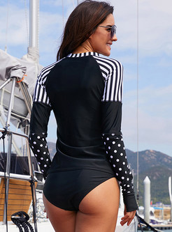 Long Sleeve Polka Dot Striped Swimwear Top