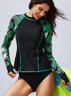 Casual O-neck Long Sleeve Print Swimwear