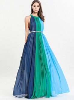 Color-blocked O-neck Sleeveless Big Hem Dress