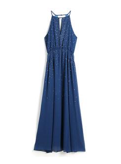 Fashion O-neck Sleeveless Waist Slim Maxi Dress