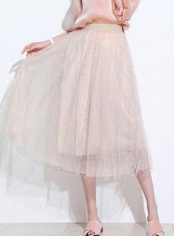 Sweet Elastic Waist Polka Dot Mesh Skirt