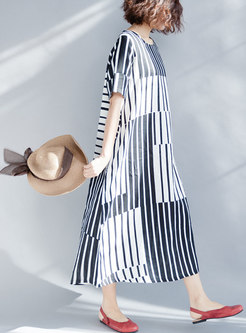 Brief Striped O-neck Loose Maxi Dress