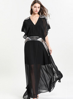 Sexy Short Sleeve Plus Size Big Hem Dress