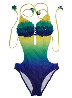 Halter Color-blocked One Piece Swimwear