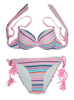 Trendy Tied Color-blocked Striped Bikini