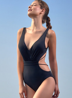 Brief Pure Color Tied One Piece Swimwear