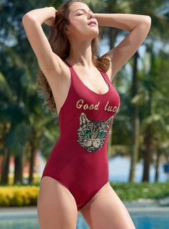 Animal Print Conservative One Piece Swimwear