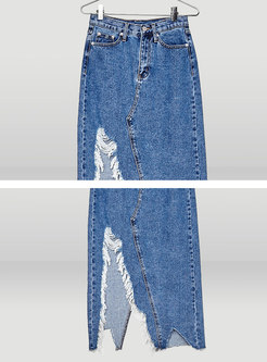 Chic Denim Frayed Asymmetric Skirt