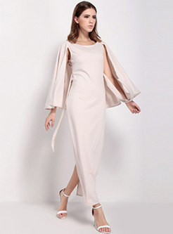 Sexy Backless O-neck Belted Cape Sheath Dress