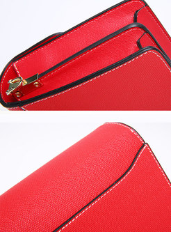 Stylish Red Cowhide Crossbody Bag