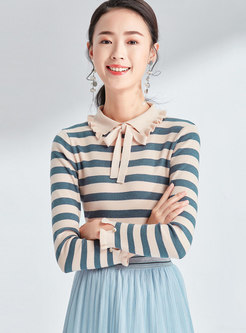 Striped Lapel Bowknot Slim Knitted Sweater