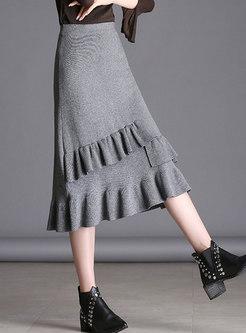 Solid Color Elastic Waist Knitted Mermaid Skirt