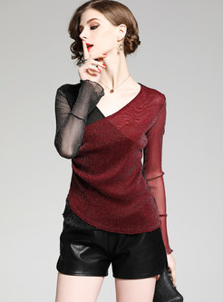 Stylish Color-blocked V-neck T-shirt