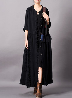 Stylish O-neck Patchwork Single-breasted Long Coat