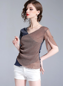 Color-blocked V-neck Slim Pullover T-shirt
