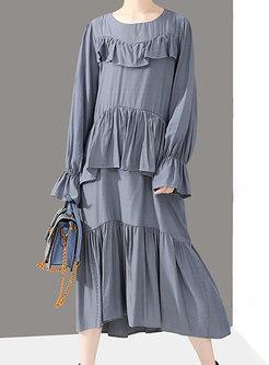 Solid Color Flare Sleeve Falbala Loose Dress