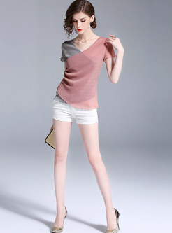 Short Sleeve Slim Color-blocked T-shirt