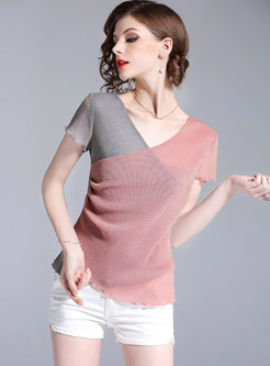 Short Sleeve Slim Color-blocked T-shirt