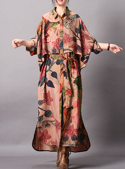Chic Print Lapel Tie-waist Asymmetric Slit Coat