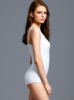 White O-neck Sleeveless One Piece Swimwear