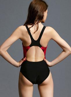 Color-blocked Backless Sheath One Piece Swimwear
