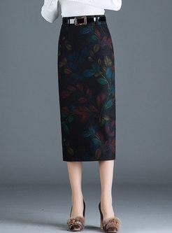 Elegant Print Slit Bodycon Skirt