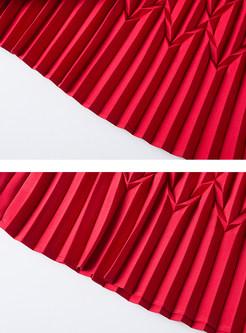 Elegant Red Elastic Waist Pleated Maxi Skirt