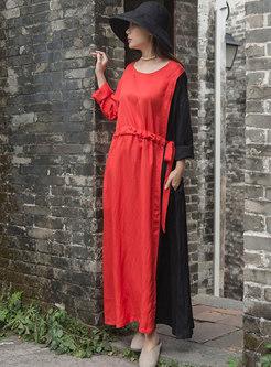 Color-blocked O-neck Tie-waist Slim Maxi Dress